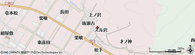 愛知県田原市野田町(ズル沢)周辺の地図