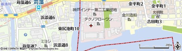 兵庫県神戸市兵庫区高松町周辺の地図
