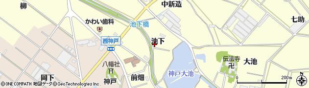 愛知県田原市神戸町(池下)周辺の地図