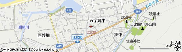 愛知県田原市江比間町(五字郷中)周辺の地図