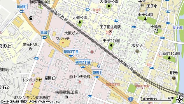 〒673-0028 兵庫県明石市硯町の地図