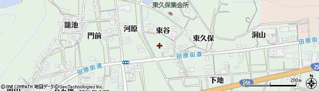 愛知県田原市大久保町(東谷)周辺の地図