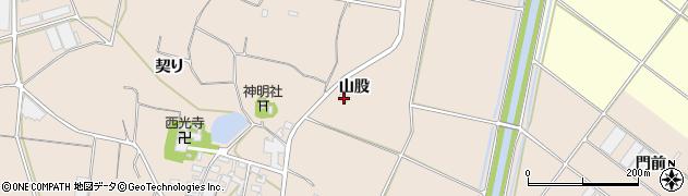 愛知県田原市西神戸町(山股)周辺の地図