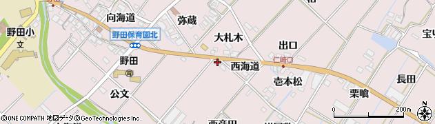 愛知県田原市野田町(西海道)周辺の地図