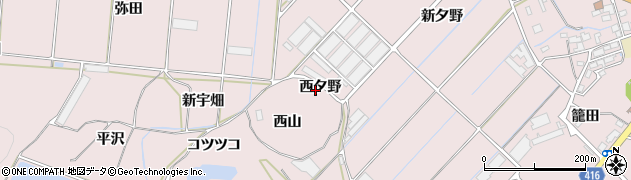 愛知県田原市野田町(西夕野)周辺の地図