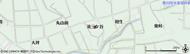愛知県田原市六連町(清三ケ谷)周辺の地図