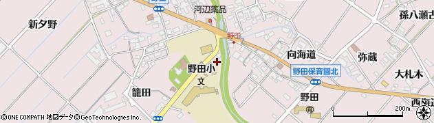 愛知県田原市野田町(大門)周辺の地図