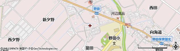 愛知県田原市野田町(市ノ西屋敷)周辺の地図