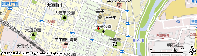 兵庫県明石市王子1丁目周辺の地図