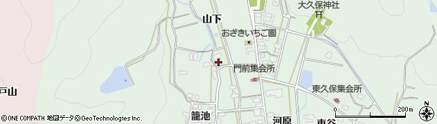 愛知県田原市大久保町(山下)周辺の地図