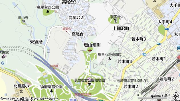 〒654-0015 兵庫県神戸市須磨区奥山畑町の地図