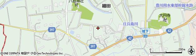 愛知県豊橋市城下町(細田)周辺の地図
