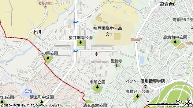 〒654-0132 兵庫県神戸市須磨区多井畑南町の地図