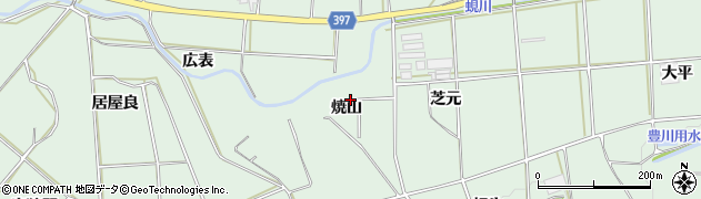 愛知県田原市六連町(焼山)周辺の地図