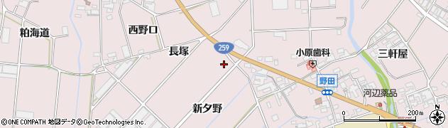 愛知県田原市野田町(新夕野)周辺の地図