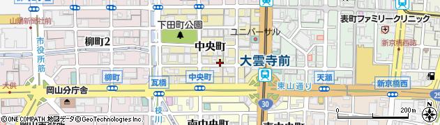 岡山県岡山市北区中央町周辺の地図