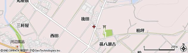 愛知県田原市野田町(後田)周辺の地図