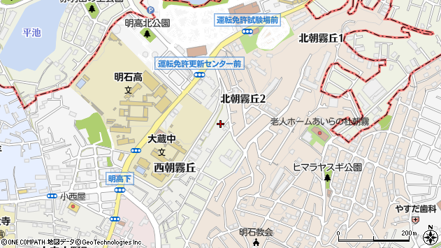 〒673-0856 兵庫県明石市西朝霧丘の地図