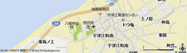 愛知県田原市宇津江町(居山)周辺の地図