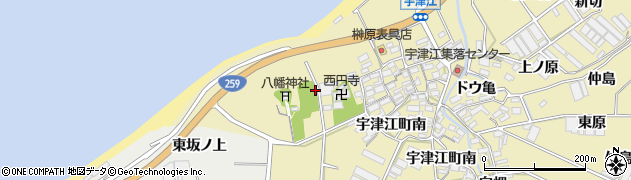 愛知県田原市宇津江町周辺の地図