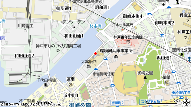 〒652-0851 兵庫県神戸市兵庫区材木町の地図