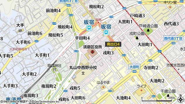〒654-0000 兵庫県神戸市須磨区(以下に掲載がない場合)の地図
