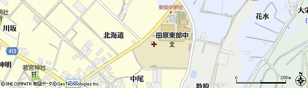 愛知県田原市神戸町(中尾)周辺の地図