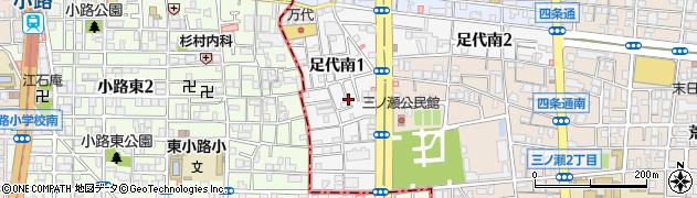 大阪府東大阪市足代南周辺の地図