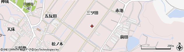 愛知県田原市野田町(三ツ田)周辺の地図