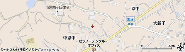 愛知県田原市加治町(中恩中)周辺の地図