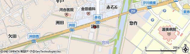 愛知県田原市加治町(諸田)周辺の地図