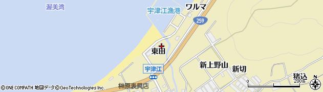愛知県田原市宇津江町(東田)周辺の地図