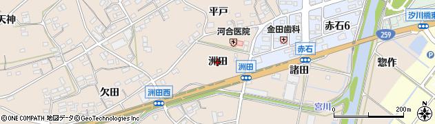 愛知県田原市加治町(洲田)周辺の地図