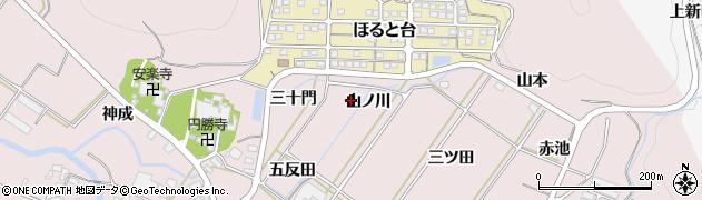 愛知県田原市野田町(山ノ川)周辺の地図