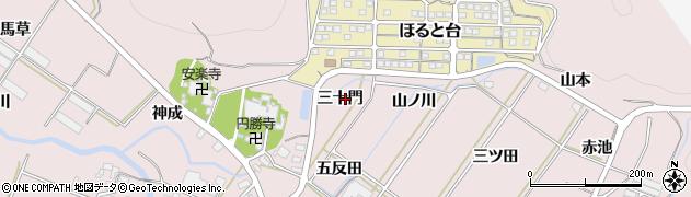 愛知県田原市野田町(三十門)周辺の地図