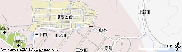 愛知県田原市野田町(山本)周辺の地図