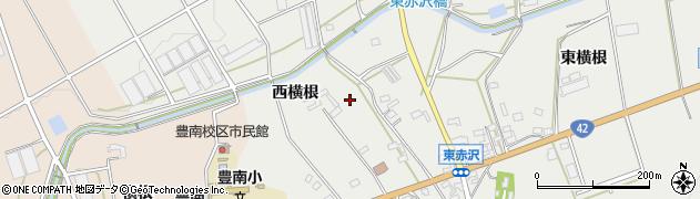 愛知県豊橋市東赤沢町(西横根)周辺の地図