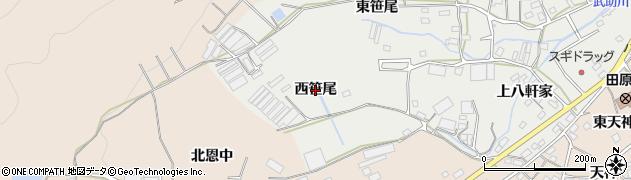 愛知県田原市田原町(西笹尾)周辺の地図