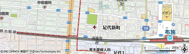 大阪府東大阪市足代新町周辺の地図