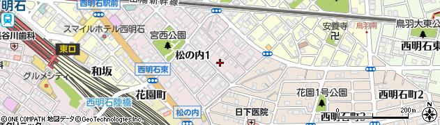 兵庫県明石市松の内周辺の地図