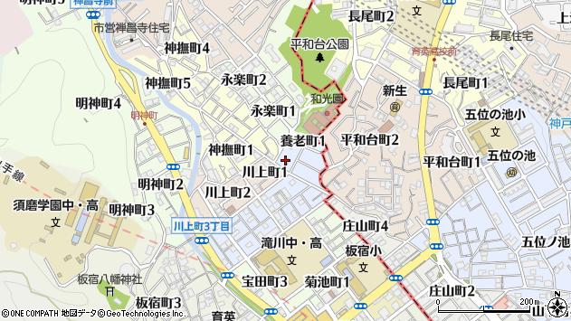 〒654-0006 兵庫県神戸市須磨区養老町の地図