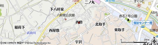 愛知県田原市田原町(西砦)周辺の地図