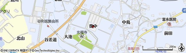 愛知県田原市豊島町(豊中)周辺の地図