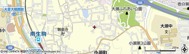 奈良県生駒市小瀬町周辺の地図