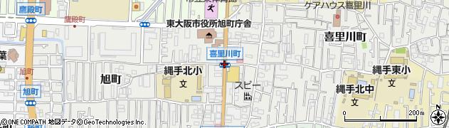 喜里川町周辺の地図