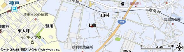 愛知県田原市豊島町(七曲)周辺の地図