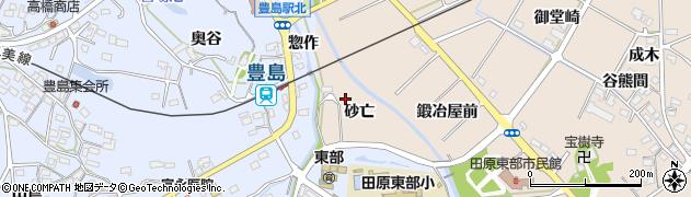 愛知県田原市谷熊町(砂亡)周辺の地図