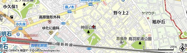 兵庫県明石市野々上3丁目周辺の地図