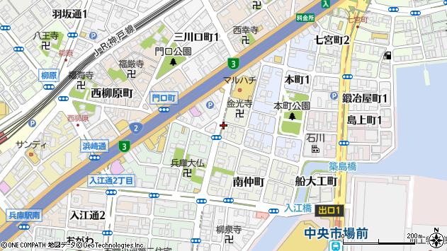 〒652-0835 兵庫県神戸市兵庫区西仲町の地図