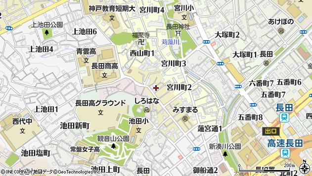 〒653-0814 兵庫県神戸市長田区池田広町の地図